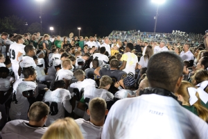 After the game mid-field prayer for Bradley and his family.