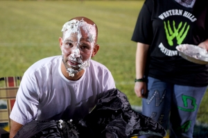 Franklin County High School's principal Buddy Sampson after receiving his pie.